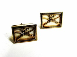 1950's Duck Hunting Crossed Rifles Cufflinks by SWANK 102915 - $28.99