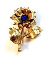 Vintage Gold Tone & Blue Stone Flower Brooch - $44.99