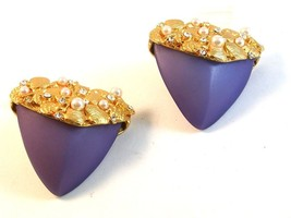 Vintage Gold Tone & Pearl Lavender Clip On Earrings - $44.99