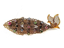 Early 1950's Made In Germany West Gold Tone Fish Rhinestones Brooch 102416 - $49.99
