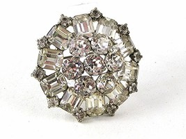 1950's -60's Silver Tone Sparkly Rhinestone Brooch By WEISS 102416 - $64.99