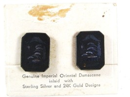 Genuine Imperial Damascene Inlaid Sterling 24K Gold Earrings Unbranded Card - $64.99