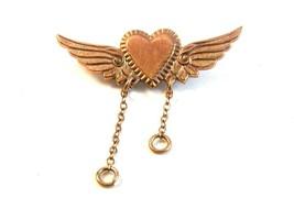 Vintage Gold Tone Heart & Wings Brooch - $22.99