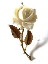 Goldtone & White Flower Rose Brooch Unbranded 8615 - $19.99