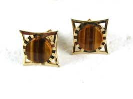 1960's Goldtone Tiger Eye Cufflinks by an S within a 5 sided Shield 3116 - $24.99
