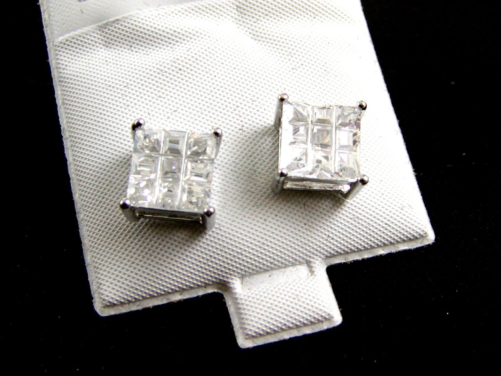 Primary image for Sterling Silver w 9 CZs Pierced Studs Earrings 12092013yy