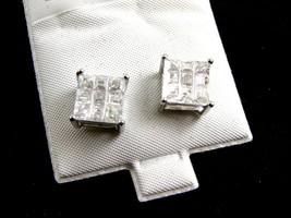 Sterling Silver w 9 CZs Pierced Studs Earrings 12092013yy - $36.99