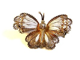 Vintage 800 Silver European Filigree Butterfly Brooch - $36.99