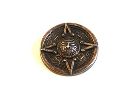 Mexican Eagle Mark Sterling Silver Aztec Calender Brooch - $42.99