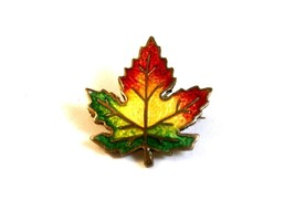 Sterling Silver Gold Vermeil Enameled Canadian Maple Leaf Brooch - $32.99