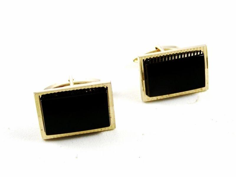 True Vintage Goldtone & Black Onyx Cufflinks By S in Shield 100714 - $15.99