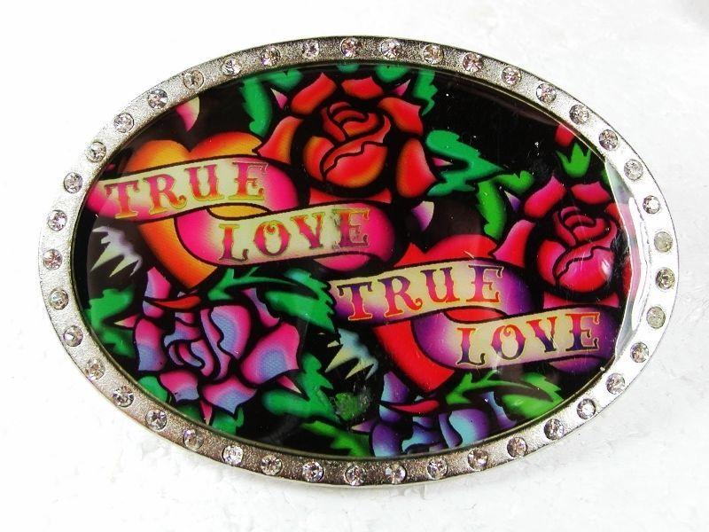 True Love True Love Black Green Roses Belt Buckle By ED HARDY 33116 - $22.99