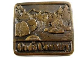 1976 Gods Country Belt Buckle 6914 Signed Adezy - $74.99