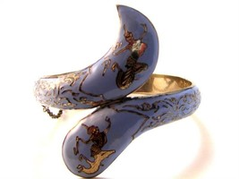 Vintage Siam Snake Sterling Silver Blue Niello Dancer Bracelet - $224.99