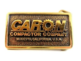Vintage Caron Compactor Company Modesto CA Solid Brass Belt Buckle Made in U.S.A - $18.99