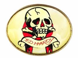 Skull Crossbones White Red Black Belt Buckle By ED HARDY 33116b - $24.99