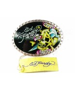 Skull Death or Glory Black Yellow Belt Buckle By ED HARDY 33116a w/ Tag - $34.99