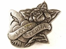 Silvertone Love Eternal Rose Belt Buckle By ED HARDY 33116b - $24.99