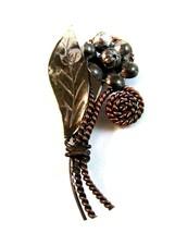 Vintage Sterling Silver & Copper Flower Brooch - $27.99
