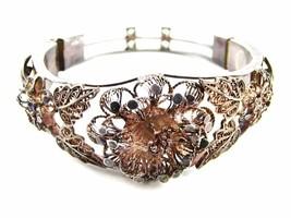 True Vintage 1930's - 1950's Silver Flower Bracelet Unmarked 110714 - $130.49
