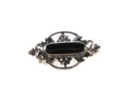 Vintage Sterling Silver & Black Brooch Made In Thailand Unbranded 7615 - $24.99