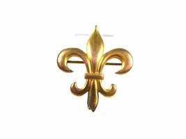 Victorian / Edwardian Goldtone Watch Holder Fleur de Lis Brooch Unbrande... - $34.99