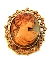 Vintage Hidden Heart Gold Tone Cameo of a Lady Brooch - $34.99