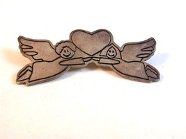 Mexican Sterling Silver Male & Female Angels Heart Holding Hands Brooch - $42.99