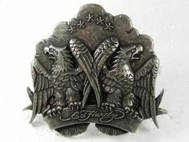 Silvertone American Eagles Belt Buckle By ED HARDY 33116b - $44.99