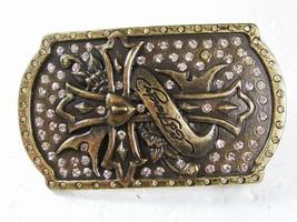 Goldtone Cross Rhinestones Belt Buckle By ED HARDY 33116 - $24.99
