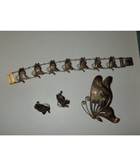 Unique 1930s 40s Etched Silver Butterfly Bracelet Necklace Screw On Earr... - $149.99