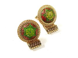 Classic 1970's Gold Tone Green Red Wrap Around Cufflinks Unbranded 7116 - $54.99