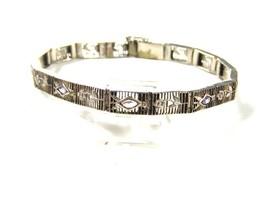 Edwardian Art Deco Sterliing Silver Amythests Filigree Bracelet Unbrande... - $89.99