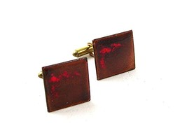 1950's - 60's Brass & Copper Enameled Mid Century Modern Cufflinks 92916 - $22.99