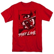 They Live t-shirt Roddy Piper Retro 80s horror sci-fi graphic red tee UNI968 image 1