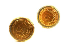 1901 & 1905 Indian Head Pennys Gold Layered Cufflinks Unbranded 10415 - $54.99