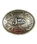 Western Cowboy Silver Tone Justin Brand Belt Bu... - $31.49