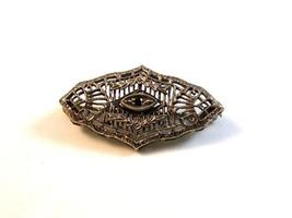 Vintage Edwardian Silver Tone & Red Stone Filigree Brooch - $54.99
