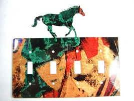 Wild Horse Quadruple Light Switch Cover Plate by Steel Images USA 6815ee - $54.99