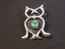 Vintage Sandcast Native American Silver Turquoise Owl Brooch - $85.49