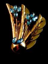 Vintage Sterling Silver Gold Vermeil / Plate Blue Topaz Flower Brooch - $84.99