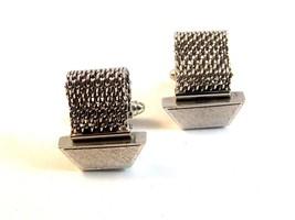 Vintage Silver Tone Wrap Around Cufflinks by Shields - $22.99