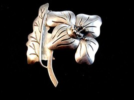 Large Vintage Sterling Silver Flower Brooch 01012013ab - $94.99