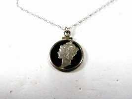 """Cut Out Mercury Dime Lady Pendant & Sterling Silver 18"""" Chain Unbranded ... - $29.99"""