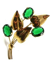 1950's Retro Sterling Silver Gold Vermeil Green Brooch 72214 - $34.99