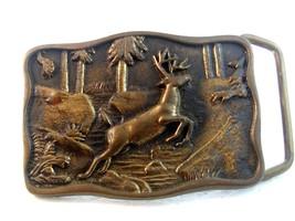 Vintage 1978 BTS Solid Brass Deer in the Woods Belt Buckle - $22.99