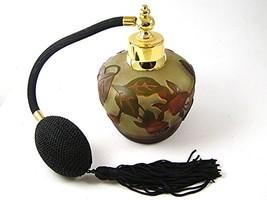 Gold Tone Orange & Green Art Glass Flowers Perfume Bottle & Atomizer 1117ab - $34.99