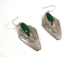 Southwest Sterling Silver & Malachite Dangley Earrings Signed - $54.99