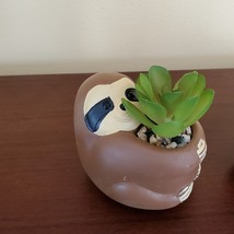 """Sloth Animal Planter with Faux Succulent, Cement Pot and Artificial Plant, 4"""" image 1"""