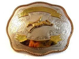 Vintage Silver & Gold Tone Broncho Riding Cowboy Western Rodeo Belt Buckle - $67.49